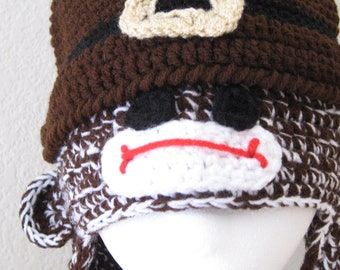 Ready to Ship Sock Monkey Pilgrim Earflap Hat Cap Crochet Crocheted Handmade Beanie Child Teen Adult Thanksgiving