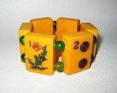 SALE Handmade Vintage Bakelite MahJong Amber Bracelet w/ Green beads