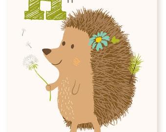 ABC card, H is for Hedgehog, ABC wall art, alphabet flash cards, nursery wall decor for kids
