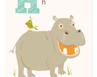 ABC wall art, ABC card, H is forv Hippo ABC wall decor, alphabet flash cards, nursery wall decor for kids and baby