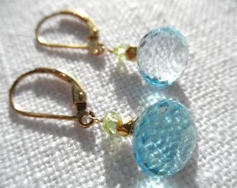 Swiss blue topaz earrings - peridot earrings - topaz earrings - blue and green earrings - gold earrings - L A U R E N 073
