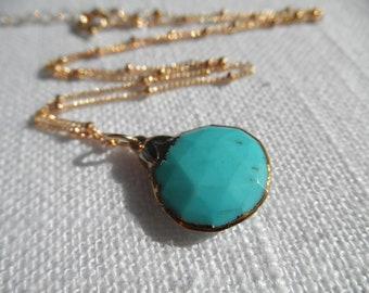 Arizona Turquoise necklace - sleeping beauty turquoise - turquoise necklace - gold necklace - A M E L I A 199