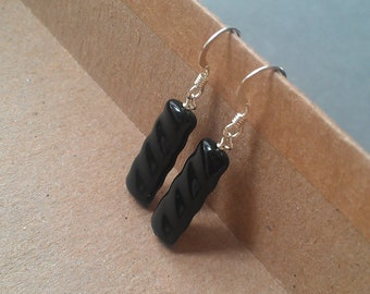 divine wavey czech polish unique black earrings