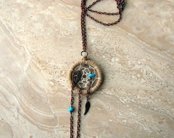 Dream Catcher Necklace - Turquoise Angel Wing Dreamcatcher Pendant - Unchained Dreams No. 2