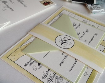 """Calligraphy Wedding Invitations watercolored black and white on cotton paper Love No. 14 """"Georgetown"""""""