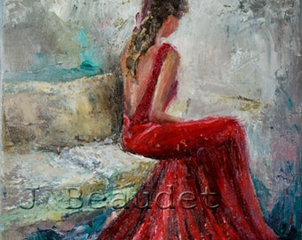 Fine Art Giclee Print of Original Impressionist oil Painting Abstract Figure Woman Red Dress 8x10