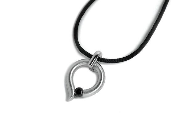 Taormina Black Diamond Tension Set Teardrop Pendant Steel Stainless