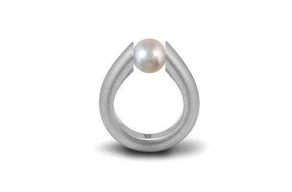 Tension Set White Pearl Tapered Ring in Stainless Steel