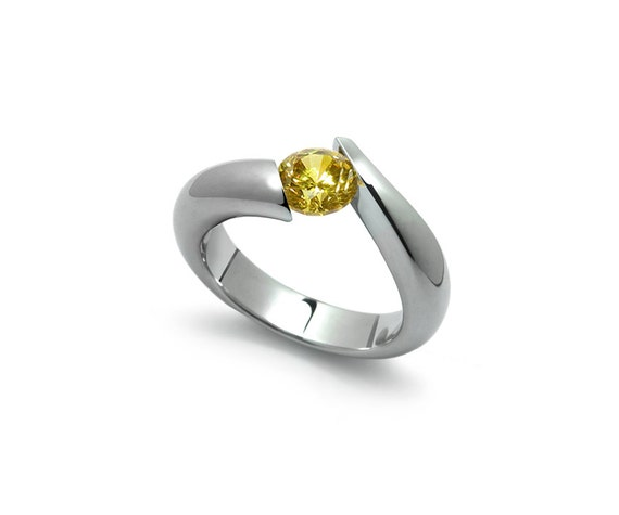Yellow Sapphire Topaz Tension Set Ring in Two Tone Stainless Steel