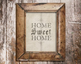 Home Sweet Home Print in French Grain Sack Style