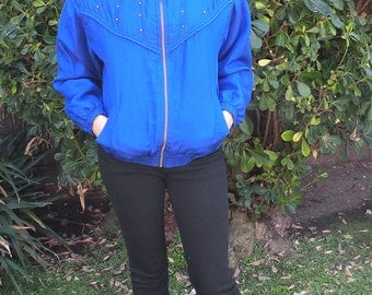 1980s Vintage Royal Blue Casual/Athletic Jacket (small)