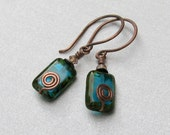 Teal Aqua Czech Glass and Swarovski Crystal Copper (USA) Earrings