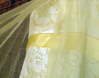 Vintage Yellow Sheer over Lace empire waist hostess party Maxi Dress S Free shipping