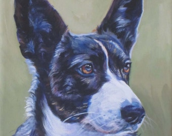 Cardigan Welsh Corgi dog portrait CANVAS Print of LA Shepard painting 8x8 dog art