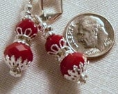 Earrings, Red, Silver, Rhinestone Rondelle     4241