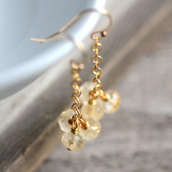 Dangle Earrings Yellow Citrine Gemstone and Gold Earrings November Birthstone - Gilded Age