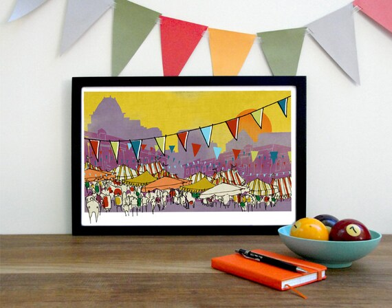 A Downtown Affair, Greensboro Street Festival Cityscape Art Print Illustration in Mustard and Purple