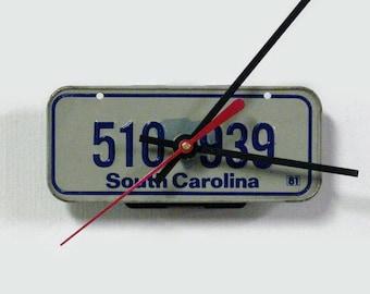 1981 South Carolina Bike License Plate Wall Clock - Mini SC License Tag Bicycle Clock