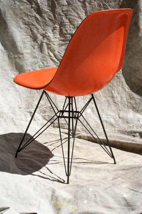 Vintage Eames Shell Orange Scoop Chair Herman Miller Eiffel
