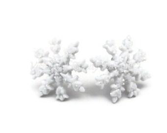 Glistening Snowflake Earrings, Fresh Fallen Snow Post Earrings by Vision of Beauty Design