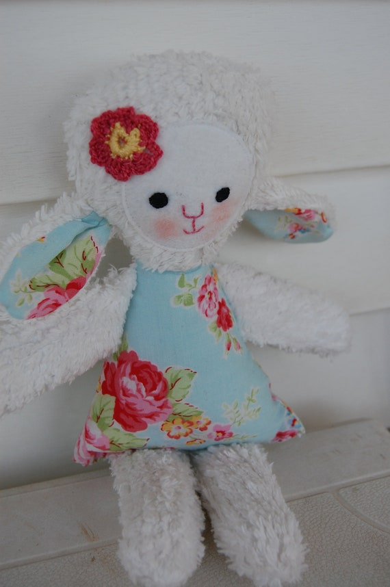 Rosie,  Shabby Chic chenille and fabric lamb, plush toy, baby toy, Ready to ship
