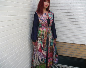 handpainted long silk coat size S.