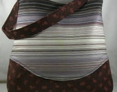 Large Tote Bag Sturdy Bag Multifunctional Designer Striped Fabric and Printed Corduroy Fabric-OOAK