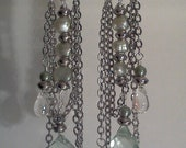 Pistachio Mint Silver Chandelier Shoulder Duster Crystal Freshwater Pearl Earrings B113
