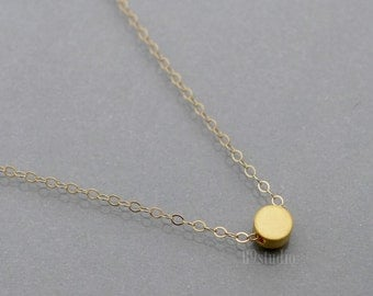 Gold dot necklace, tiny dot necklace, gold filled chain, dainty small charm pendant, Minimalist, simple delicate everyday jewelry, B9studio