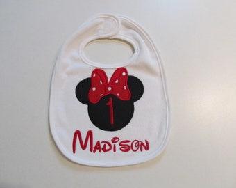 Minnie Mouse, White Terry Cloth Bib with Monogram