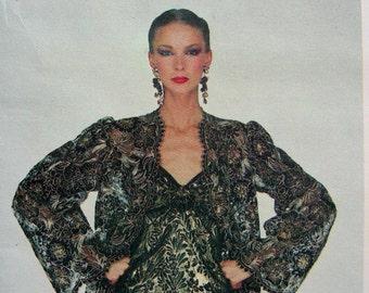 UNCUT * Vogue Paris Original - Yves Saint Laurent - Back Wrapped Lace Evening Gown & Jacket  * Designer  Pattern 2183 * Size 8
