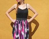 Elastic waist skirt in pink and purple print FINAL SALE