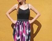 Elastic waist skirt in pink and purple print FINAL SALE