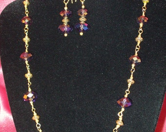 Deep Purple Aurora BorealisWire Wrapped Necklace With Matching Earrings