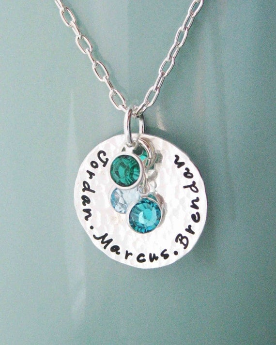 Sterling silver birthstone mother necklace Custom