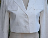 Vintage Cropped 2 Button Ivory Blazer Size Small