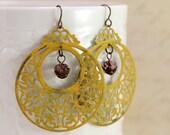 Yellow Boho Big Hoop Earrings Bohemian Jewelry