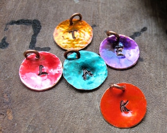 Personalized Initial - Colored Hand Stamped Charm - Add On Disc - Turquoise, Purple, Red, Orange, Gold / Charms / Initials / Letters / Tags