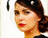 Glamorous Black Hat with Veil  - Vintage Jewels and Rhinestones