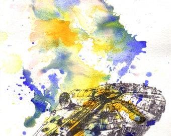Star Wars Art Millenium Falcon Watercolor Painting - Fine Art print 8 X 10 in. Star Wars Poster Print