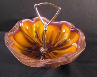 Retro Mod Wild Orange Swirl Tidbit Dish, 1960s 1970s art pottery serving dish, TheRetroLife