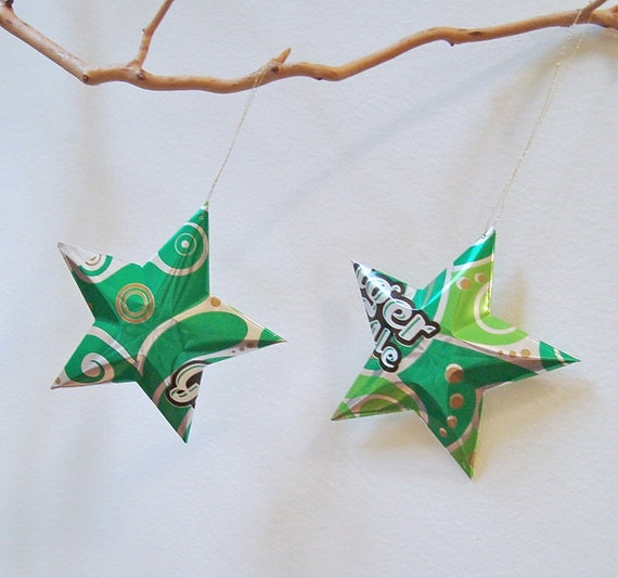 Ginger Ale Soda Stars Christmas Ornaments Aluminum Can Upcycled Pizzazz