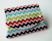 Mini Velcro Fold Over Card and Cash Wallet - Primary Chevron
