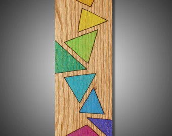 """Triangles: Original Abstract Art on Red Oak Panel - Colored with Prismacolor Pencils - 3.5"""" x 9.25"""""""