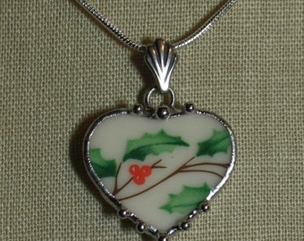 Broken China Jewelry Lenox Christmas Holly Sweet and Petite Heart Pendant Necklace