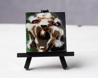 Rabid Rabbit - Zombie Acrylic Painting 3x3 -sealed with resin