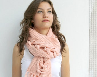 Pink Wool Special Design By DenizGunes Knit  Scarf Perfect Gift Under 75 For Women For Girl Friend Christmas Gift