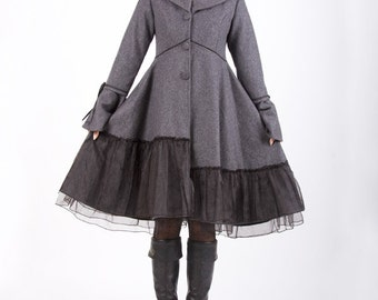 Gray coat Elengant wool jacket winter coat dress(341)
