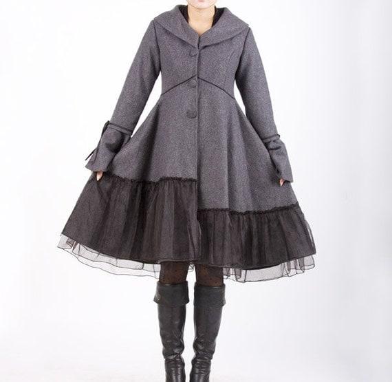 grey wool jacket, long wool coat, dress coat, dress coat, dress jacket, wool coat, christmas gifts, Custom made, plus size coat, Gift (341)