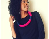 "INDIGO---crocheted fiber necklace in ""neon"" & ""ink"""